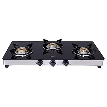 Elica Vetro Glass Top 3 Burner Gas Stove with Double Drip