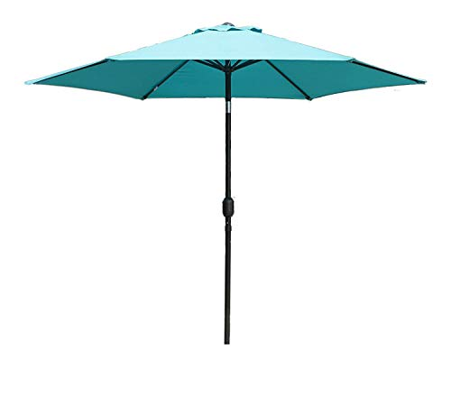 Kozyard 9 Feet Patio Outdoor Umbrella with Push Button to Crank, 100% Polyester, Steel Rib and Sturdy Aluminum Pole in Bronze Finish(Blue) (What An Umbrella Is Offset)