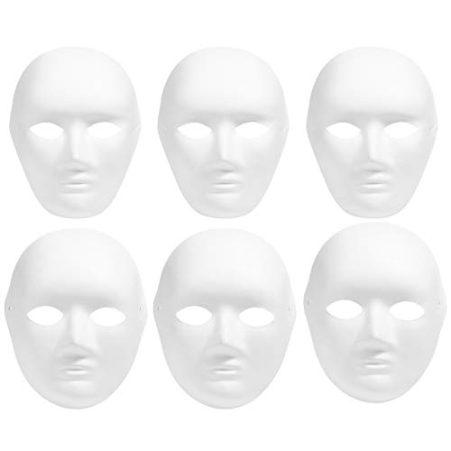LUOEM 12pcs Full Face Halloween Costumes DIY Blank Painting Mask Halloween Hip-Hop Dance Ghost Cosplay Fancy Dress Masquerade Party Mask (6pcs Male and 6pcs Female) -