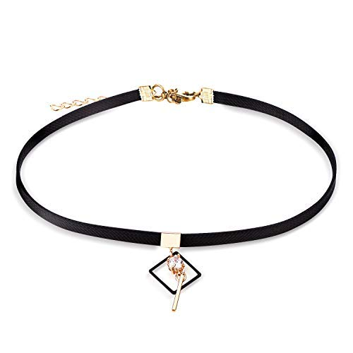 - Cherisherre Black Choker Necklace for Women,Gold Accented Choker Necklace with Stone Pendant Faux Leather Cord