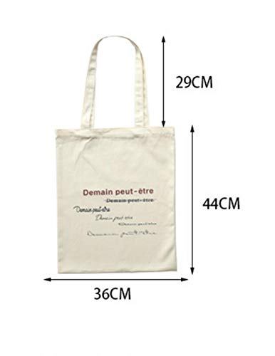 Zhoyea Durable Female French Printed Canvas Shoulder Bag Simple Light File Shopping Travel Handbag (Beige)