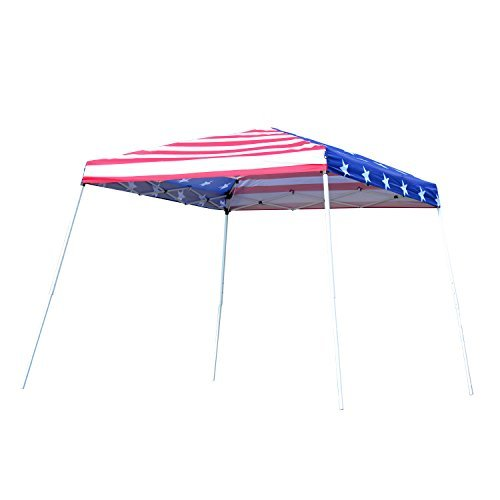 Outsunny 10' x 10' Slant Leg Pop-Up Canopy Shelter Party Tent – American Flag