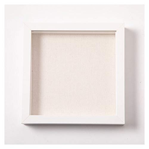 Muzilife 8x8 Shadow Box Picture Frame with Linen Board - Deep Wood & Glass Display Case Ready to Hang Perfect to Display Baby & Sports Memorabilia, Pins, Awards, Medals, Tickets and Photos (White)]()