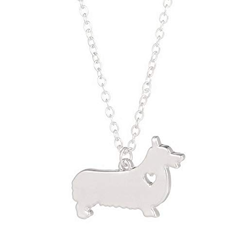 Art Attack Silvertone I Love My Dog Lover Heart Outline Pembroke Cardigan Welsh Corgi Necklace