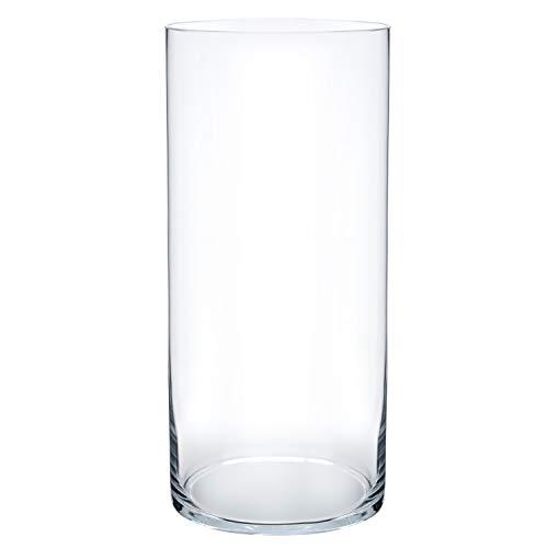 Royal Imports Flower Glass Vase Decorative Centerpiece for Home or Wedding Cylinder Shape, 12