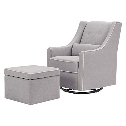 DaVinci Owen Upholstered Swivel Glider with Side Pocket and Storage Ottoman, Grey with Cream Piping