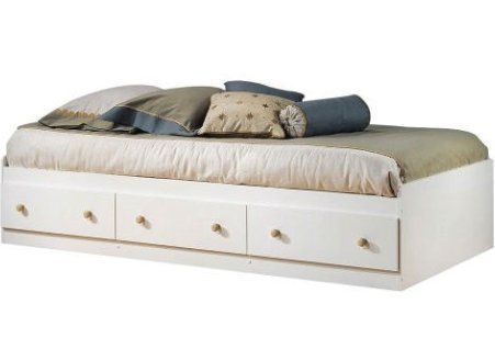 SKB Family Twin size White Wood Platform Bed Daybed with Storage Drawers home Natural Maple convenient wooden 76.3 x 40.3 x 14.5 inches