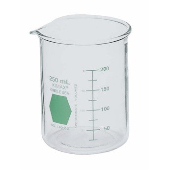 Kimax 14000G-250 Green-Coded Griffin beakers; 250 mL, 12/cs