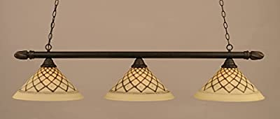 Round Billiard Light w Chocolate Icing Glass