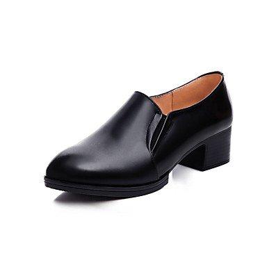 Negro Zapatos Mujer Chunky 5 Talón Tacones Uk6 5 Ue39 amp;Amp; US9 4En Negro 2 Zapatos EU40 Us8 2A Otoño Primavera Formales Carrera De Formales 3 La Auténtico Office UK7 CN41 Cn40 Cuero RTRY 57q6awn