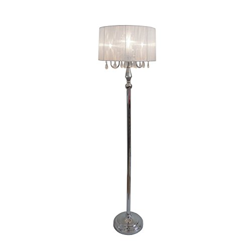 Elegant Designs LF1002-WHT Sheer Shade Chrome Floor Lamp with Hanging Crystals, 16.54