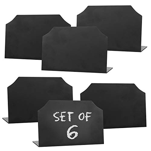 MyGift Set of 6 Black Mini Erasable Chalkboards/Write On Message Boards/Wedding Table Place Holder Signs