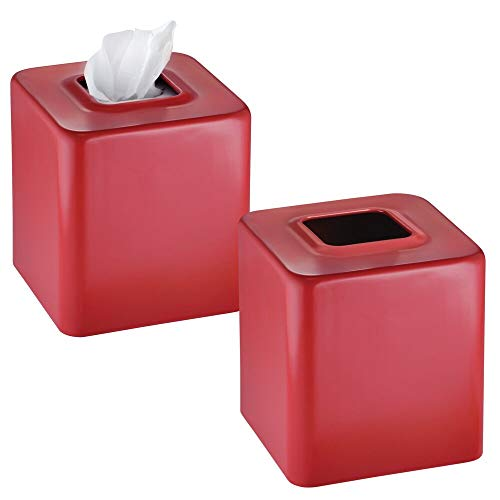 mDesign Modern Square Metal Paper Facial Tissue Box Cover Holder for Bathroom Vanity Countertops, Bedroom Dressers, Night Stands, Desks and Tables - 2 Pack - Red
