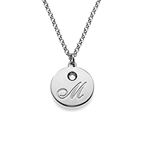 Amazon initial pendant necklace with birthstones custom made silver engraved disc initial pendant necklace with birthstone free engraving aloadofball Image collections