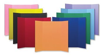 Tri Fold Project Boards-48W x 36H - 9 Colors/24 Boards Per Pack