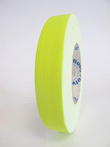 6 Rolls Premium Professional Grade Gaffer Tape - 1 Inch X 50 Yards - Fluorescent / Neon Yellow Color - 6 Rolls per Case