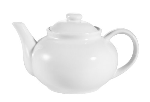 CAC China TPW-3 40-Ounce Porcelain Teapot with Raised Lid, 9 by 4-3/4 by 6-Inch, Super White, Box of 12