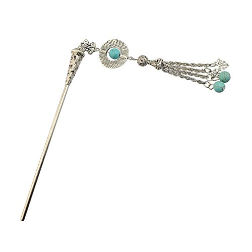 Women Silver Tassel Hairpin Bohemia Green Stone Moon Shape Hair Sticks - Type3