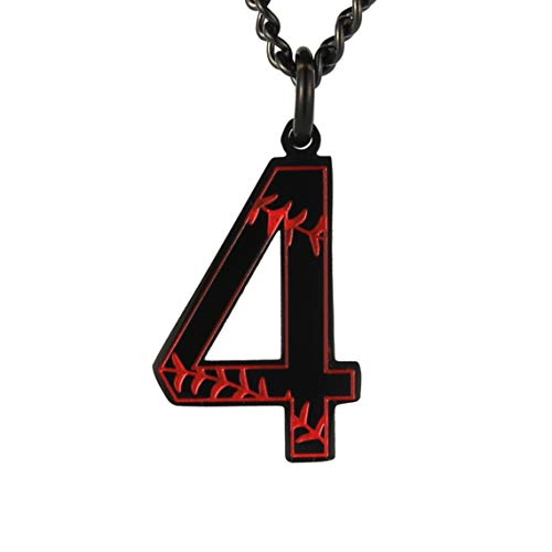 HZMAN Baseball Initial Pendant Necklace Inspiration Baseball Jersey Number 0-9 Charms Stainless Steel Necklace (4 - Black)