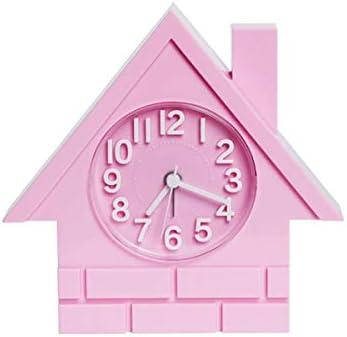 KEHUITONG 目覚まし時計、創造的な学生の時計、寝室のベッドサイドの目覚まし時計、スタイリッシュな小さな家のリビングルームのミュートクロック、漫画の目覚まし時計、電池式 最新スタイル (Color : Pink)