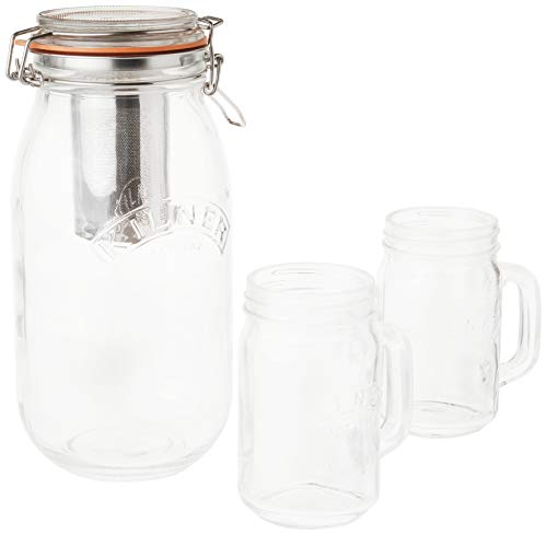 (Kilner 9-Piece Cold Brew Coffee Set, Large Clip Top Glassware Jar for Steeping and Storing, Includes Stainless Steel Filter, Handled Drinking Jars, Instruction Leaflet and More, 68-Fluid Ounces)