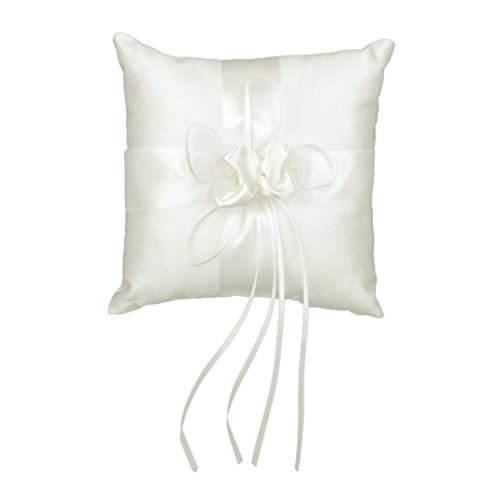 - Lovely Bud Flower Wedding Ring Pillow 20cmx20cm Ivory