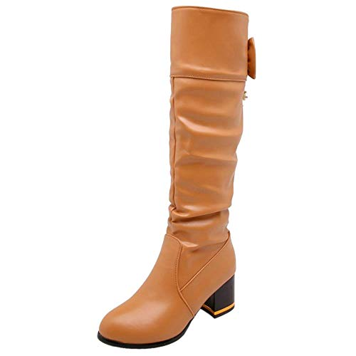 Block Pull On Heel Apricot Taoffen Knee Fashion Women Boots HZqn6FEn