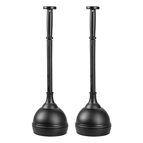 Heavy Duty Base Plastic - mDesign Plastic Bathroom Toilet Bowl Plunger Set with Lift & Lock Cover, Compact Discreet Freestanding Storage Caddy with Base, Sleek Modern Design - Heavy Duty, 2 Pack - Black