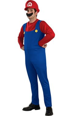 Super Mario Brothers Mario Costume, Blue, (Mario Costume Adult)