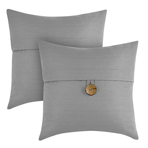 "Better Homes & Gardens Feather Filled Banded Button Decorative Throw Pillow, 20"" x 20"", Grey, 2 Pack from Better Homes & Gardens"
