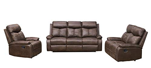 (Betsy Furniture 3-PC Microfiber Fabric Recliner Sofa Set Living Room Set in Brown, Sofa, Loveseat and Chair, 8065-321)