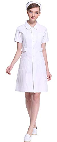 AvaCostume Women's Peter Pan Collar Button Front Nurse Scrub Dress, Whites M
