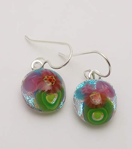 Petite Flower bouquet pink blue green fused dichroic glass earrings sterling silver ear wires #138
