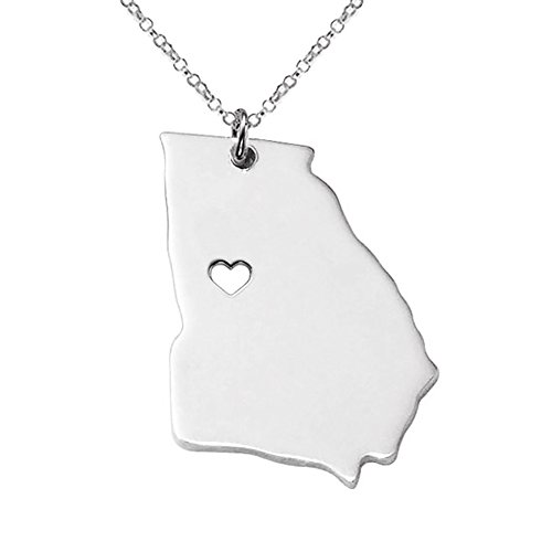 18K Gold Silver Country Map Charm Pendant Georgia state Map Necklace Jewelry (Silver) (Charm State Georgia)