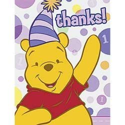 Winnie the Pooh Girl's 1st Birthday Thank You Notes w/ Envelopes (8ct)