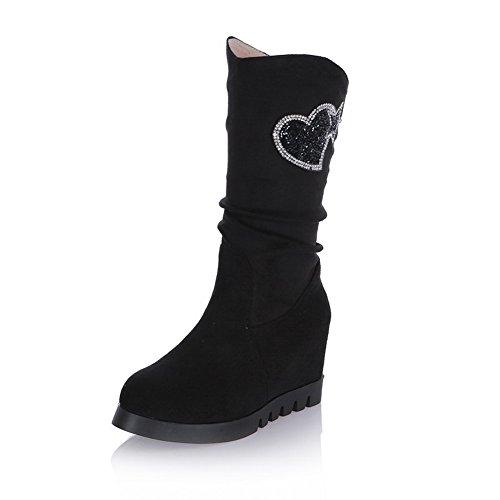 Imitated Inside Heel Thick Leather BalaMasa Bottom Diamond Girls Black Glass Heighten Boots Matching Color Wxzqv4awn