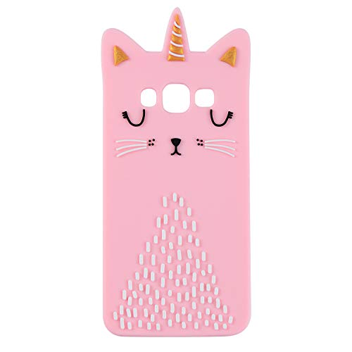 Cat Unicorn Case for Samsung Galaxy J710 J7,On7 2016,Silicone 3D Cartoon Animal Pink Cover,Kids Girls Cool Cute Cases,Kawaii Soft Gel Rubber Unique Character Protector for Samsung J7 Prime