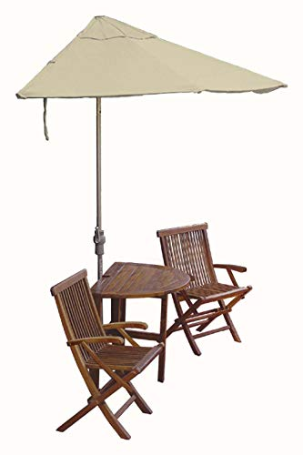 Blue Star Group Terrace Mates Bistro Deluxe Table Set w/ 7.5'-Wide OFF-THE-WALL BRELLA - Antique Beige Sunbrella Canopy