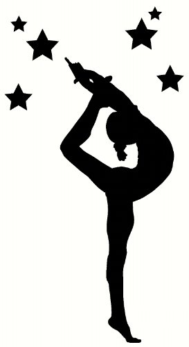 Wall Decor Plus More WDPM2492 Stretching Gymnast Silhouette With Stars Girls Bedroom Wall Sticker, 21x52-Inch, Black