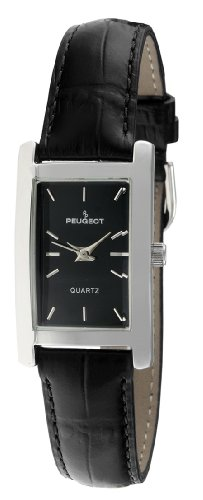 Peugeot Women's Classy Silver Plated H Rectangle Case Black Leather Band Dress Watch 3008BK (Black Leather Watch Dress)
