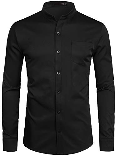 ZEROYAA Men's Banded Collar Slim Fit Long Sleeve Casual Button Down Dress Shirts with Pocket ZLCL09 Black Small