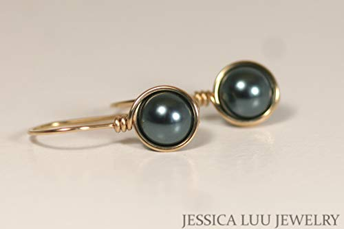 Gold Tahitian Pearl Earrings with Swarovski Pearls Wire Wrapped Yellow or Rose Gold Filled