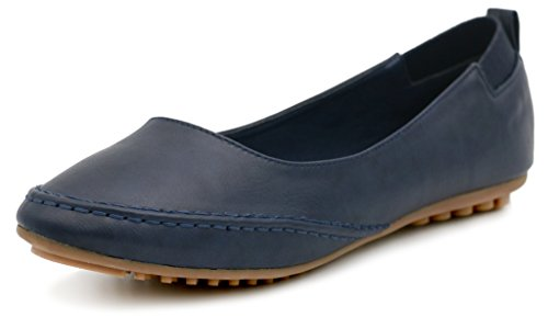 Pelle Elegante PU Shoes Estate Nero AgeeMi Primavera Scarpe Ballerine Donna Blue 1xnYHfwEWE
