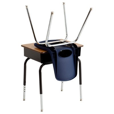 ECR4KIDS ELR-SPC-24006 6 Desks and 6 Chairs, Metal Basket Desks with 16'' Navy Chairs, 24'' H, 30'' W, 18'' L, Black/Woodgrain, Navy Trim, Black/Chrome Leg Color, Swivel Glides Foot Type by ECR4Kids