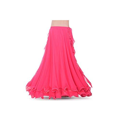 Women Belly Dance Costume 2 Layers Full Slit Skirt Arrival Belly Dance Skirt Dress,Rhodo]()