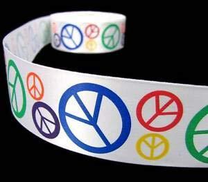 (5 Yds Peace Signs Hippie Satin Ribbon 1 1/2