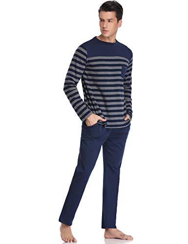 cotone scollo V Set da con con pezzi Pigiama maniche pigiama caldo Due uomo lunghe Aibrou 100 blu a 7Xx7qI64w