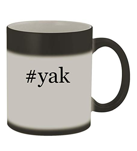 #yak - 11oz Color Changing Hashtag Sturdy Ceramic Coffee Cup Mug, Matte Black