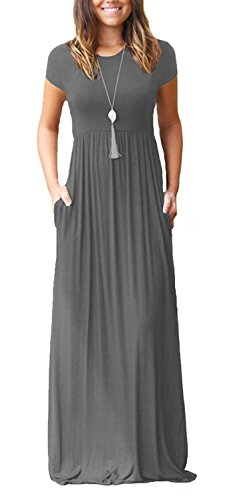 Viishow Women's Short Sleeve Loose Plain Maxi Dresses Casual Long Dresses with Pockets(Grey,M)
