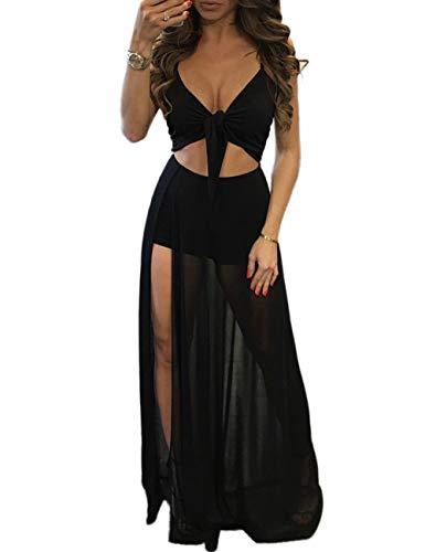 Women's Sleeveless Mesh Slit Crop Top Skirt Set 2 Pieces Outfits Party Maxi Dresses Clubwear Black XL ()